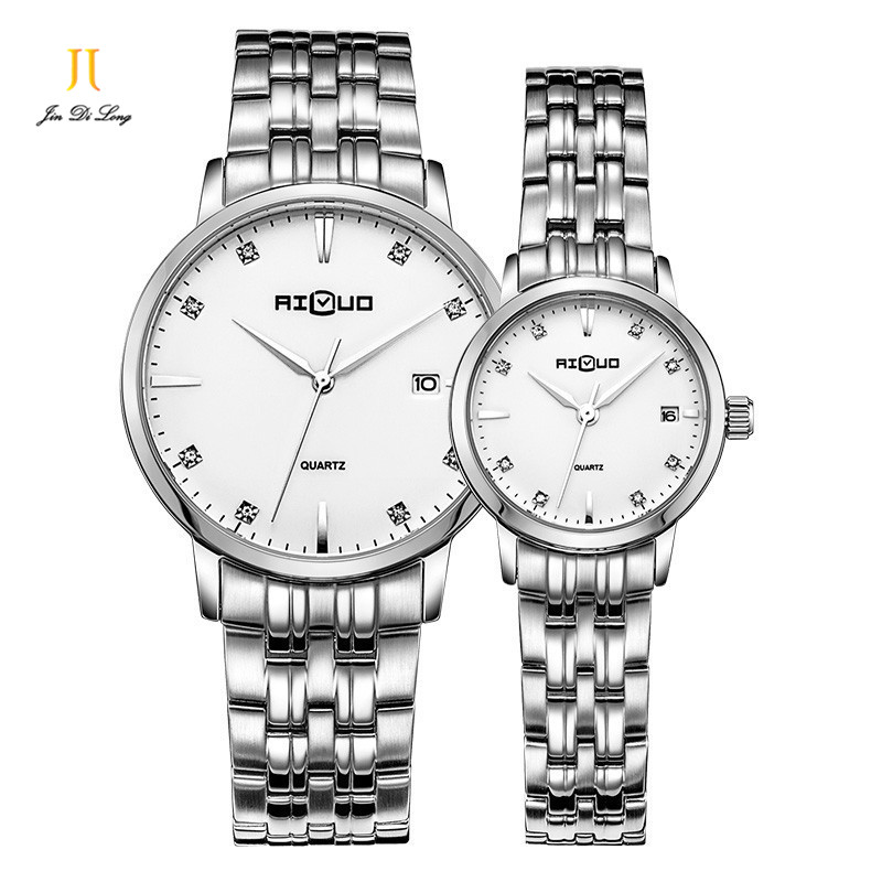Fashion Luxury Quartz for Woman Men Watch Stainless Steel Wristwatch Clocks Waterproof Couple Watch lovers Watches Xmas Gift ultrathin couple watches for men waterproof stainless steel watch male table women quartz watch female form valentines day gift