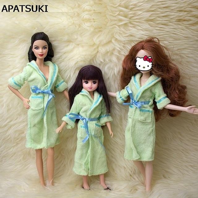 € 3.41 36% de réduction|Accessoires de poupée vert peignoir pour Barbie  salle de bain hiver pyjama dormir porter des vêtements décontractés pour ...