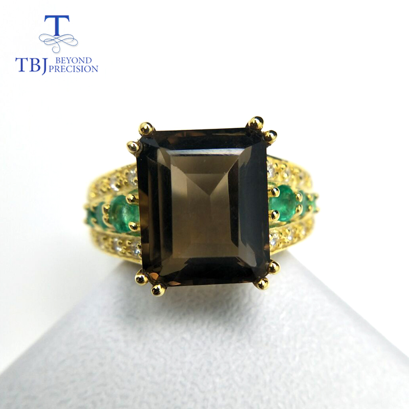 TBJ,High quality Gemstone solid Ring with smoky Quartz and Emerald in 925 sterling silver elegant women anniversary  best gift .TBJ,High quality Gemstone solid Ring with smoky Quartz and Emerald in 925 sterling silver elegant women anniversary  best gift .