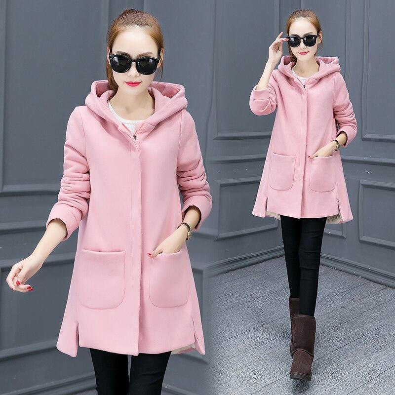 Nouveau 2017 hiver polaire femmes longue à capuche veste coréenne solide mode veste zipper hoodies manteau décontracté lâche avec poche M-3XL