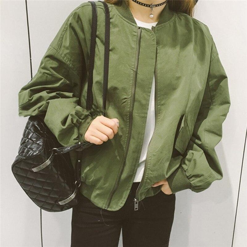 Autumn Korean Style Women Baseball   Jackets   Female   Basic   Coats Army Green & White Color Baseball Uniform Outwearr Loose Coat