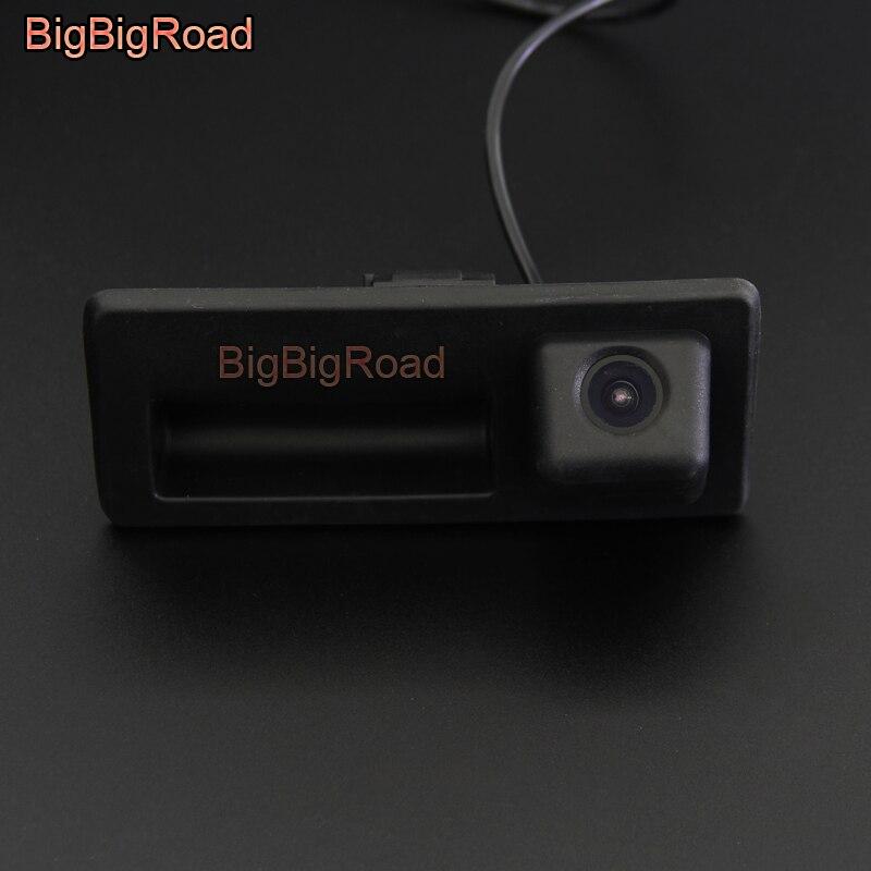 BigBigRoad poignée de coffre de voiture vue arrière caméra de recul pour Volkswagen Touareg 7 P 2010-2018/pour Audi Q5 8R 2008-2017