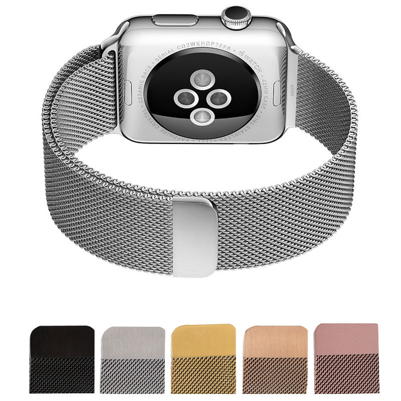 New High Quality Silver Milanese Loop font b Watch b font band Strap For 38mm 42mm