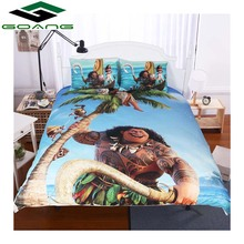 GOANG Bedding Sets 3d bed sheet duvet cover pillow case digital printing cartoon Moana king size bedding set Children best gift
