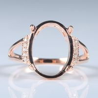 Solid 14k Rose Gold Natural Diamonds Engagement Ring 14x10.5mm Oval Cabochon Wedding Fine Jewelry