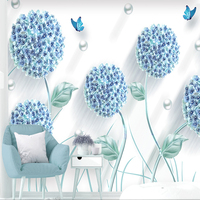 Benutzerdefinierte Wall Tuch Moderne Kreative Blau Löwenzahn Fototapeten Tapeten Wohnzimmer Schlafzimmer Wohnkultur Tapeten Für Wände 3 D|Stoff & Textile Wandbekleidungen|   -