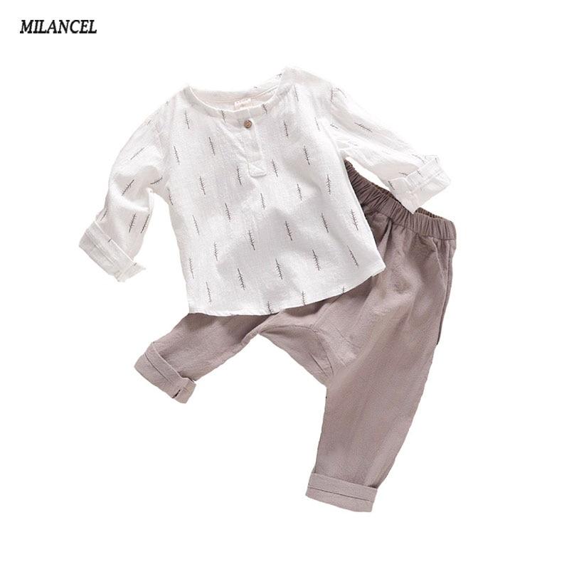 MILANCEL 2018 Musim Gugur Anak-anak Laki-laki Pakaian Set anak-anak Kasual Set Lembut Linen Bayi Laki-laki Set Daun Tops & Celana Harem Anak Set