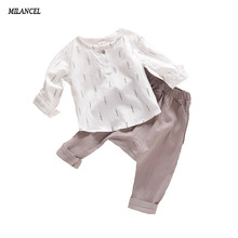 Summer Kids Boys Clothes Set Casual Children's Set Soft Linen Baby Boy Spring Set Leaf Tops & Harem Pants Kids Set