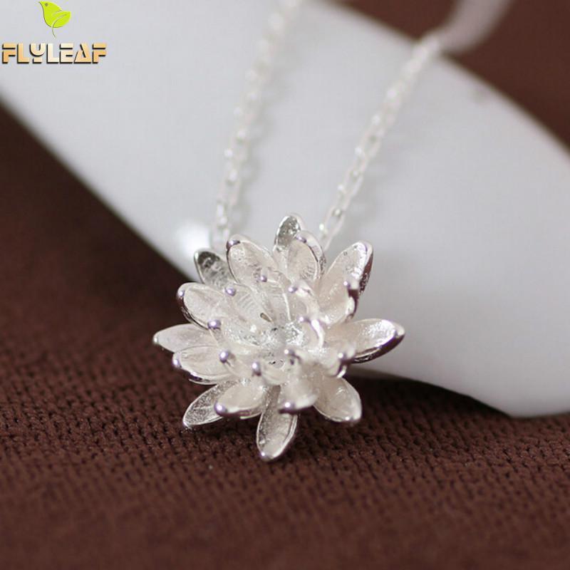 925 Sterling Silber Lotus Halsketten & Anhänger Für Frauen Elegante Blume Kurze Halskette Sterling Silber Schmuck Bijoux Femme
