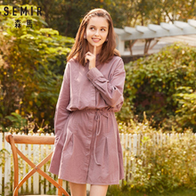 SEMIR Women Long sleeve Flared Dress with o neck Collar Dresses 100% Cotton Creases Gathers at Cuff dress woman