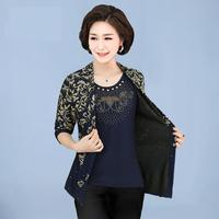 Middle Age Women Top Plus Big Size long-sleeved Printed high quality mother blouses plus size 4XL Beading tops clothing