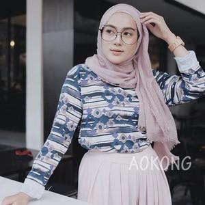 Image 3 - One piece women maxi hijabs shawls oversize islamic head wraps soft long muslim frayed crepe premium cotton plain hijab scarf