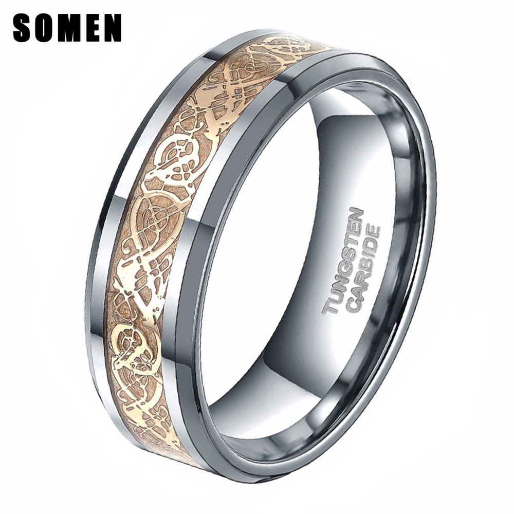 6mm 8mm Gold Celtic Dragon Inlay Tungsten Carbide Ring Men