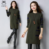 SMSF 2018 Spring Fashion New Casual Pullovers Women Loose Female Cashmere Sweater Dress Cotton Long Sleeve Dress O Neck