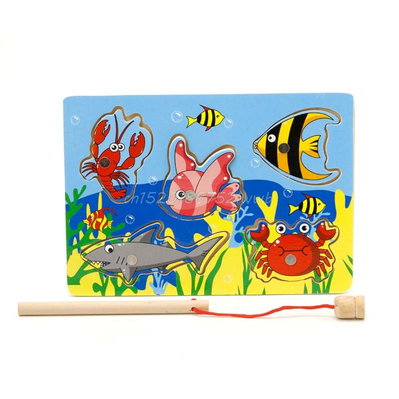 Baby Wooden Magnetic Fishing Game Board 3D Jigsaw Puzzle Children Education #T026#