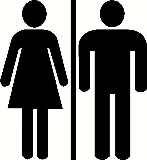 Restroom Door Decal Bathroom Sign Unisex Door Sticker WC Toilet - Unisex bathroom sign