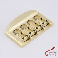 1 Set GuitarFamily Handmade Super Quantity All Brass Bass Bridge With Brass Screws Strings Space 19MM