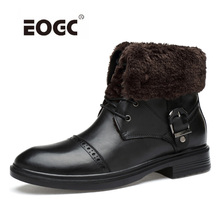 Super Warm Men Winter Shoes Genuine Leather Men Boots High Top Ankle Snow Boots Shoes Outdoor Fur Men Shoes Zapatos Hombre недорого