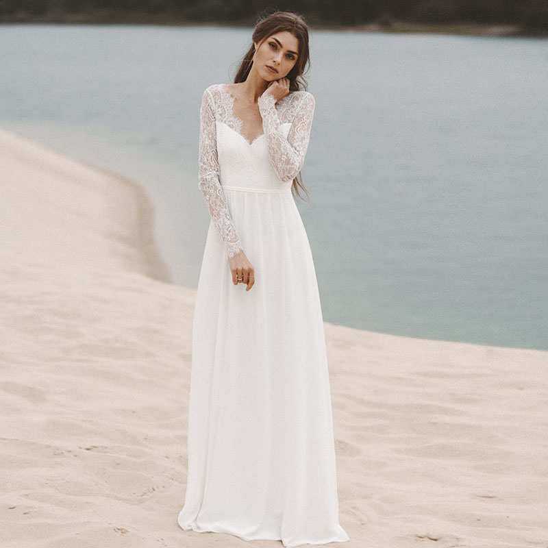 Eightree Lace Chiffon Wedding Dress Long Sleeves Beach Bride Dress Floor Length A-line Wedding Gowns Vestidos De Novia V-neck