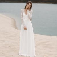 Eightree Lace Chiffon Wedding Dress Long Sleeves Beach Bride Dress Floor Length A line Wedding Gowns Vestidos De Novia V neck