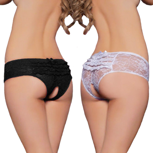 Women's Hot Open Crotch Crotchless 2015 Hot Sex Lace Thong Sexy Panties Massaging Underwear Lingerie(China)