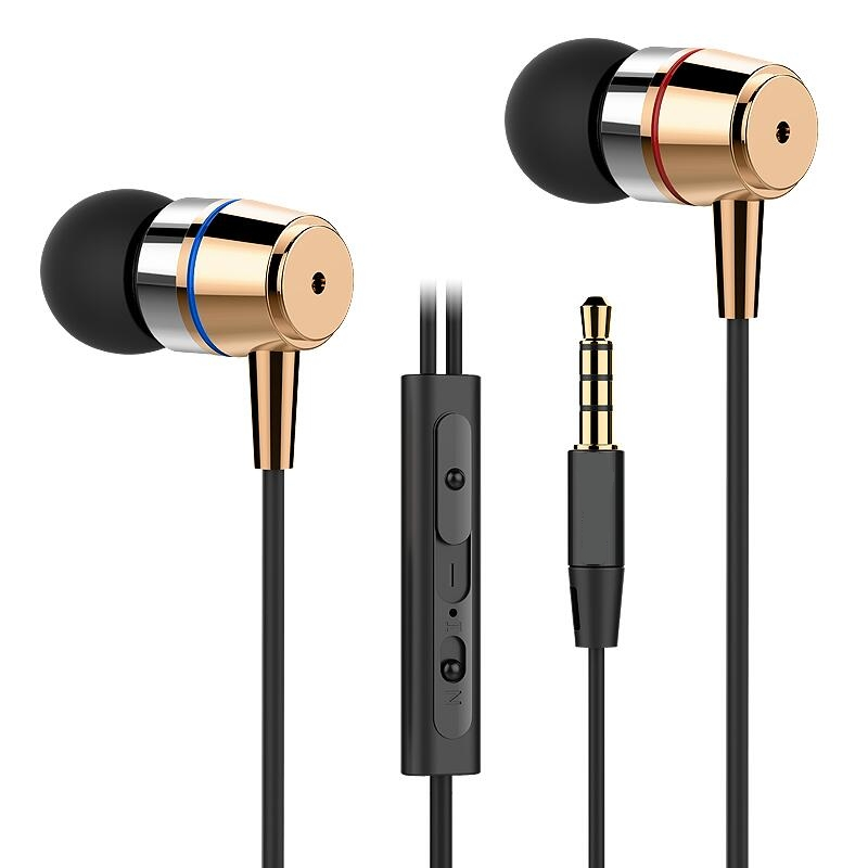 Original in-ear metal handsfree earphone HC003 stereo super bass Headset with mic for iPhone xiaomi huawei samsung phone MP3 100% original high quality stereo bass headset in ear earphone handsfree headband 3 5mm earbuds for phone mp3 player