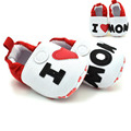 1 Par de Moda Eu AMO A MÃE Do Bebê Sapatos Primeiro Andar de Sapatos Da Menina do Menino Sola Macia Antiderrapante para 0-12Months