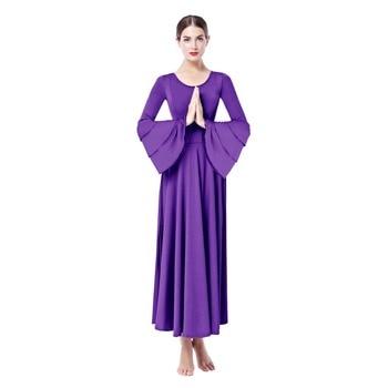 b13ace9343d9ff8 2019 элегантное платье для женщин, для взрослых, плиссированное, свободное,  литургическое, танцевальное