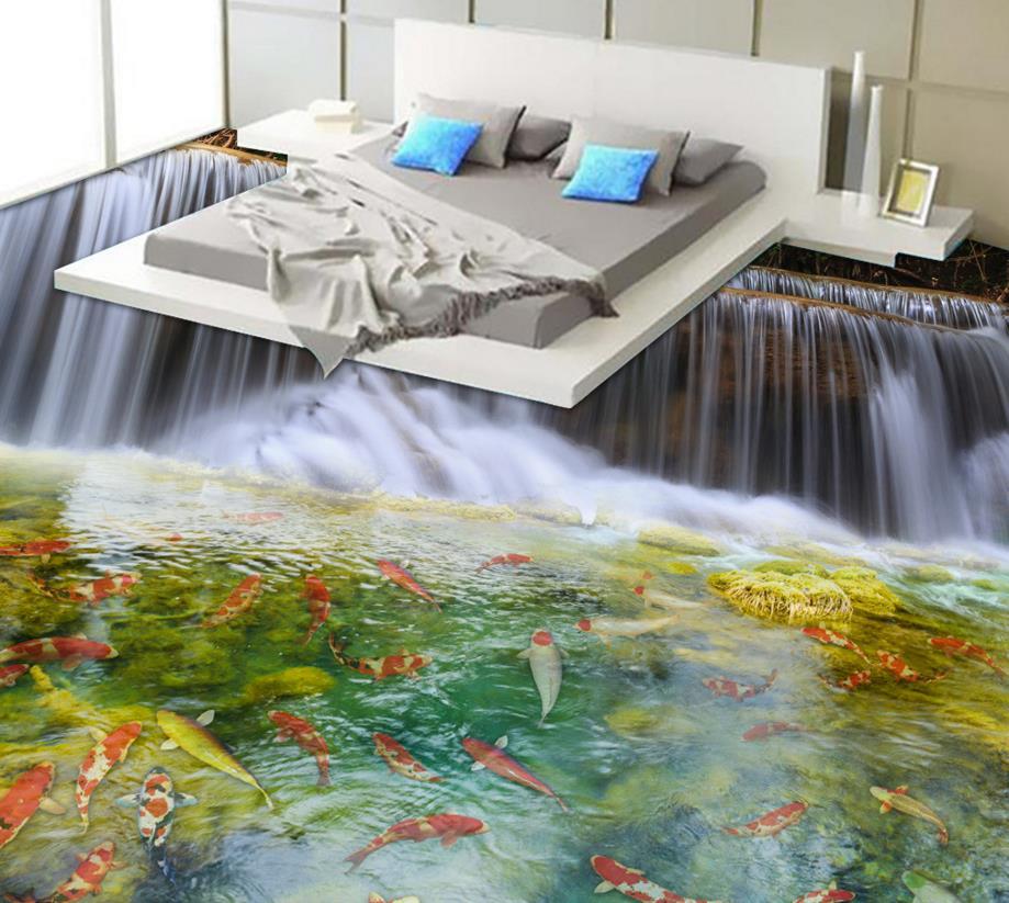 цена на 3D Flooring Modern 3D Wallpaper For Living room Carp Waterfall Wall Murals Scenery 3D Floor Non-slip Wallpaper
