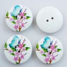 25 шт. 20 мм Бабочка и форма цветка живопись деревянные пуговицы пальто сапоги швейная одежда аксессуары MCB-303