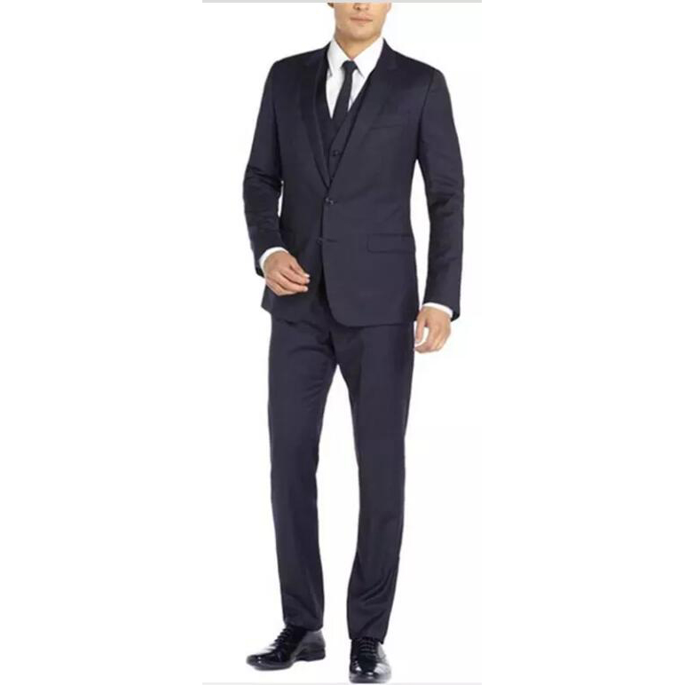 Jacket+Pants+Vest)High Quality Mens Groom Suits Terno Slim Two Button Jacket Three Piece Men Suit Attend Formal Bussiness Suits