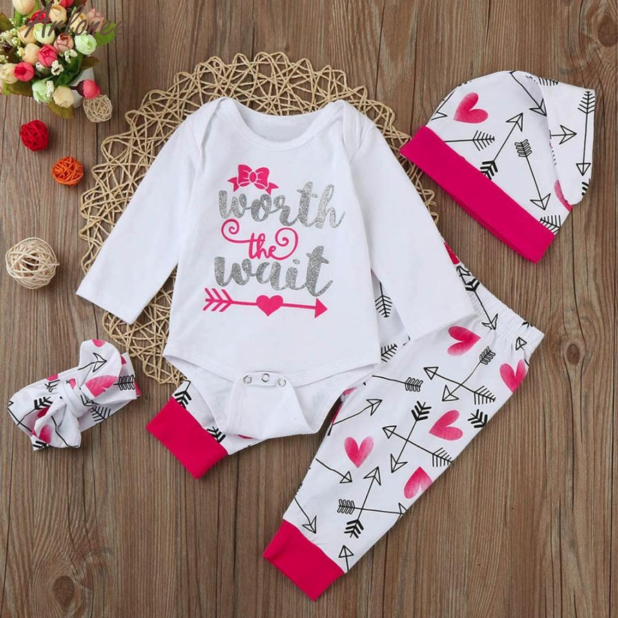 ARLONEET Baby Clothing Newborn Baby Boy Girl Letter Print Tops+Pant+Cap+Hairband Outfits Clothes Set E30 Jan09