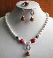 Anneler Günü Büyüleyici Beyaz Inci Karışık Tiger Göz Taş Kolye Küpe Yüzük Takı Seti mücevher kadın takı gümüş