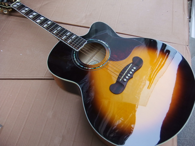 New Arrival G 43# JS200 Acoustic Guitar 6 String Cutaway In Sunburst 110226