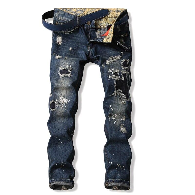 Patch Jeans Men Slim Skinny Denim Blue Jeans Ripped Trousers Famous Brand Dsel Jeans Elastic Pants Star Mens Stretch Jeans thin stretch jeans ripped denim trousers slim skinny black jeans men new famous brand biker jeans elastic mens jeans l702