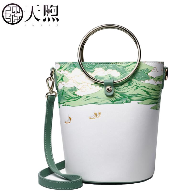 TMSIX 2019 New women leather bags Cowhide bag tote women bag fashion Embroidery designer handbags leather Bucket bagTMSIX 2019 New women leather bags Cowhide bag tote women bag fashion Embroidery designer handbags leather Bucket bag