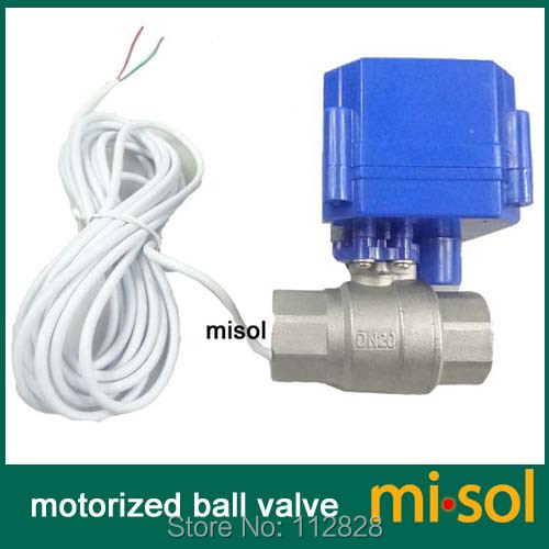 1 pcs motorized ball valve 3/4 NPT, DN20, 2 way 12VDC CR04, stainless steel electrical valve falling
