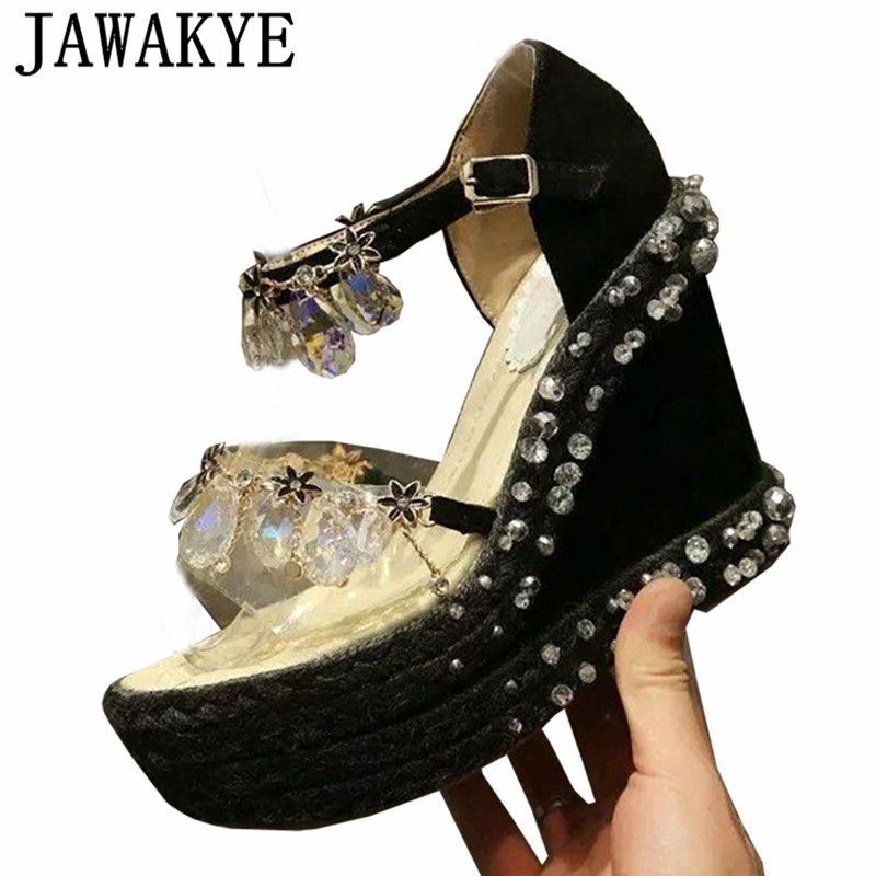 Summer platform wedge high heel Sandals women Crystal diamond string bead handmade crystal Rhinestone Hemp rope
