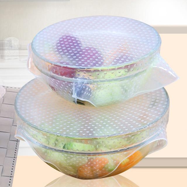 4pcs/Set  Multifunctional Food Fresh Keeping Saran Wrap Silicone Food Wraps Seal Vacuum Cover Lid Stretch Reusable Kitchen Tool