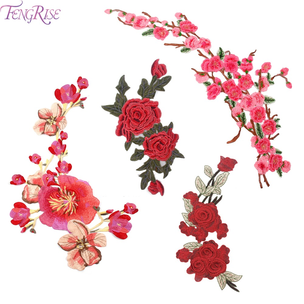 FENGRISE Plum Blossom Peach piros rózsák virágfoltok hímzett varrással a ruházati matrica varráshoz