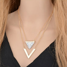 Turquoise Pendant women Necklace V-Shaped Double Multi-Layer Clavicle Chain collar mujer(China)