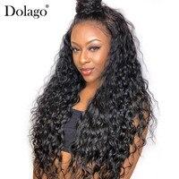 Full Lace натуральные волосы парики свободная волна парик бразильский 130% плотность черный для Для женщин предварительно сорвал спереди с ребен