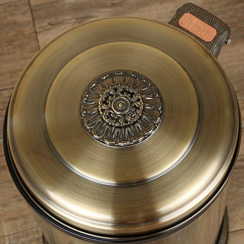 Moda 10/6L brązowy kolor metalowe ze stali nierdzewnej kubły na śmieci pojemników na śmieci z pedał nożny kosz na śmieci do dekoracji wnętrz LJT001B w Kosze na śmieci od Dom i ogród na  Grupa 3