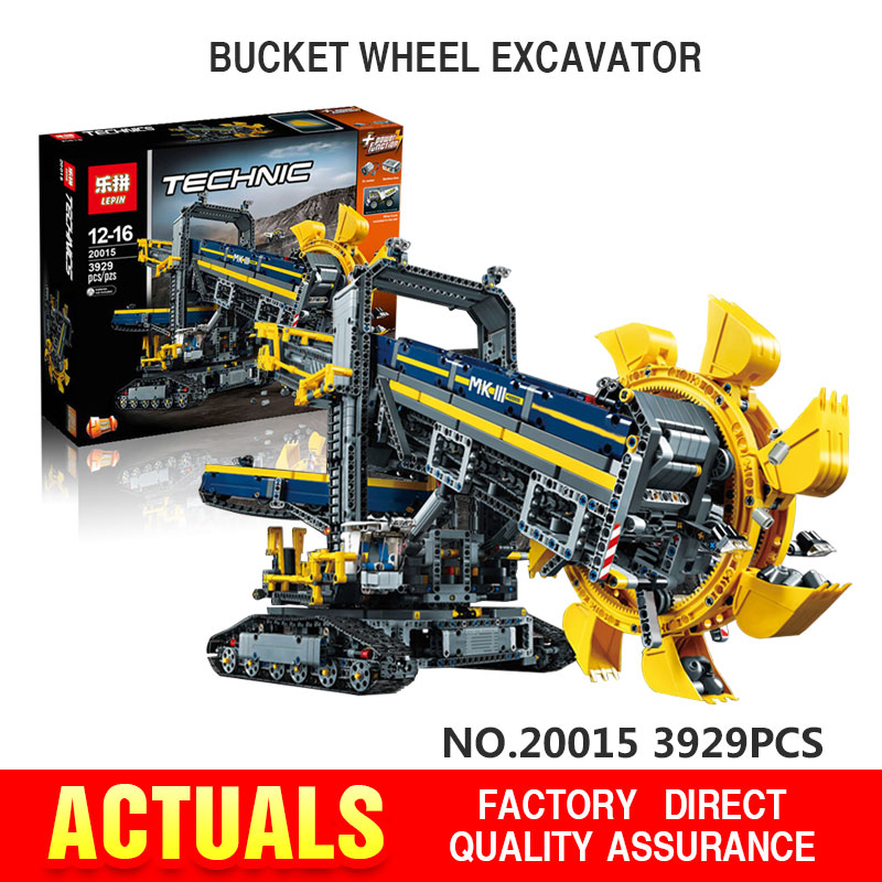 In Stock NEW LEPIN 20015 technic series 3929pcs Bucket wheel excavator Model Building blocks Bricks
