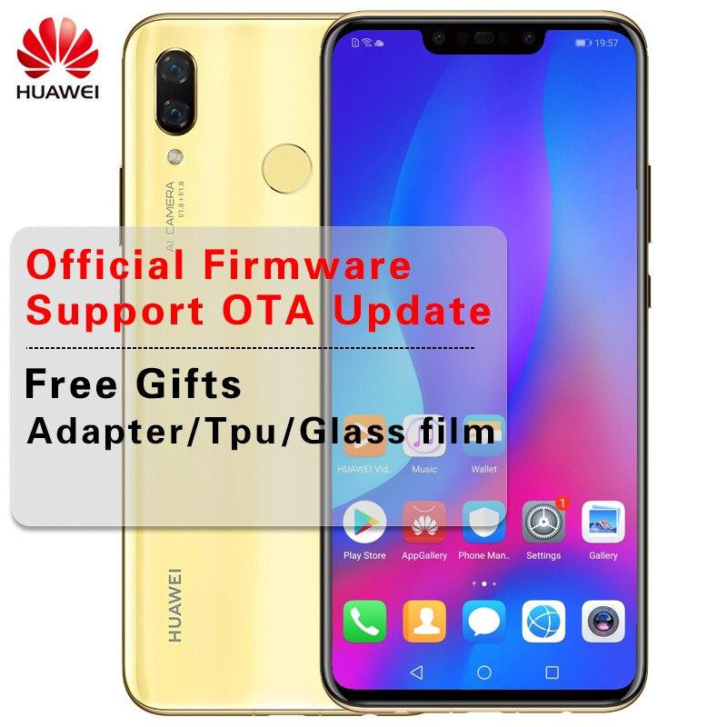 Huawei Nova 3 ГБ 6 ГБ 128 Мобильный телефон Смартфон лицо разблокировать 24MP 4 * Камера 6,3 3750 мАч несколько языков Android 8,1 Kirin 970