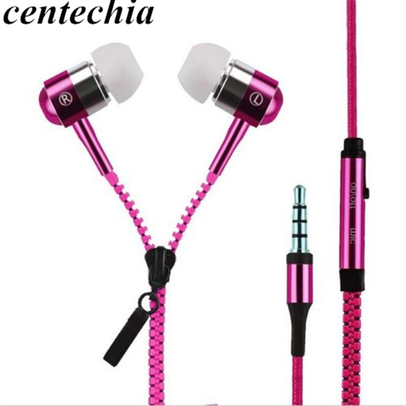 Earphone Wired Metal Zipper Wired Earphone 3.5mm In-Ear Ear Phones With Microphone Stereo Bass Earbuds For Phone MP3 MP4 Music misr t3 wired earphone metal in ear headset magnet for phone with mic microphone stereo bass earbuds