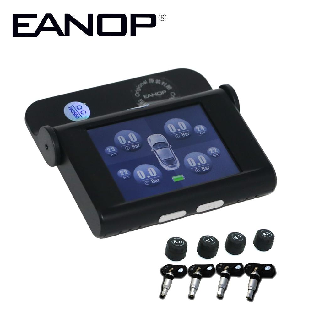 EANOP LCD Car TPMS Solar Tire Pressure Monitoring System Automobiles Guage Diagnostic Tool ADAS Alarm Max 5Bar 73PSI+Car charge