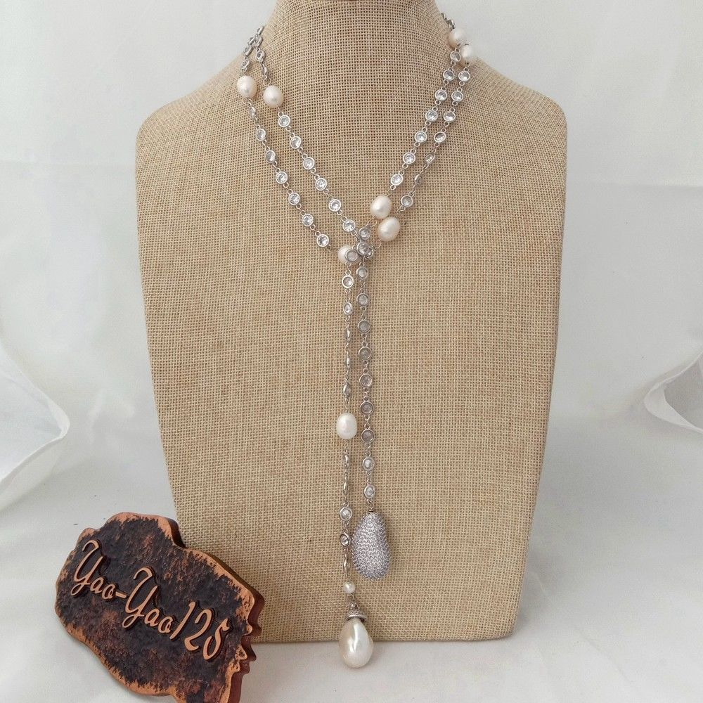 N012905 49 White Keshi Pearl Cz Pave Chain Long NecklaceN012905 49 White Keshi Pearl Cz Pave Chain Long Necklace