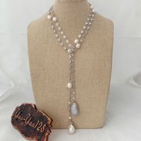 N012905 49 White Keshi Pearl Cz Pave Chain Long Necklace