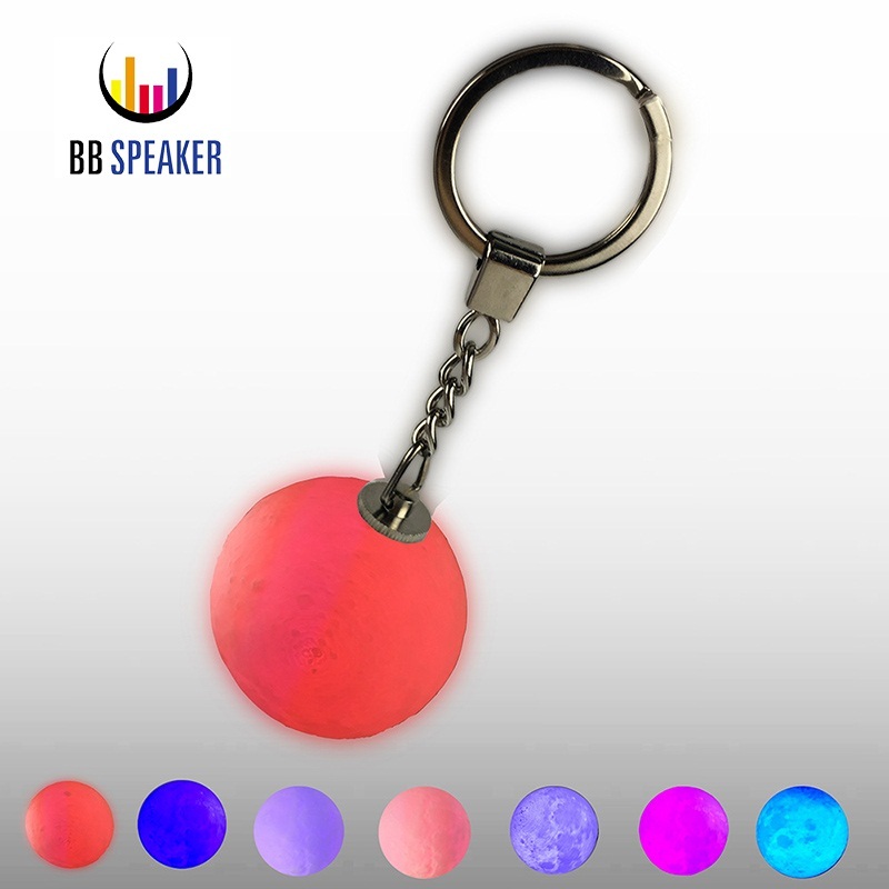 Mini 3D Print Moon Lamp Keychain Colorful Change football Led Light Glow Portable Battery Powered Creative Gifts 4cm Moon Lamp